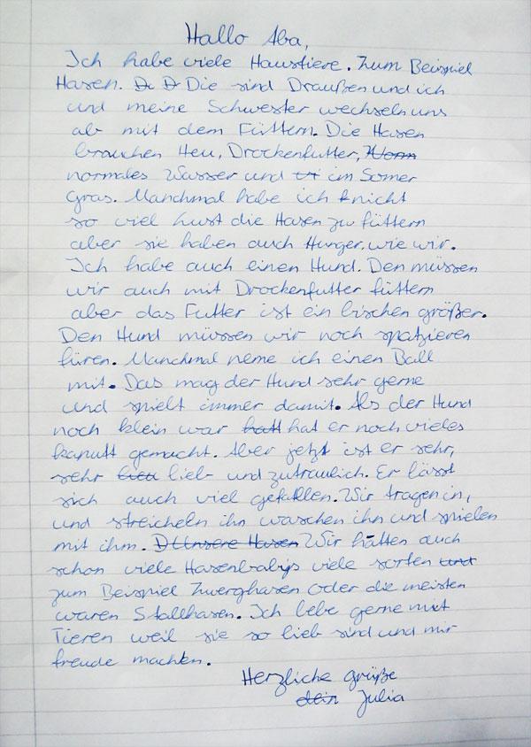 Kaleidoskop alltagstelegramme meine haustiere julia for Wolfgang hieber